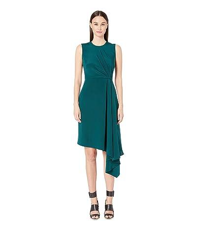 Adam Lippes Silk Crepe Sleeveless Crew Neck Dress w/ Side Drape (Emerald) Women