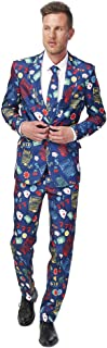 Suitmeister Men's Everyday Suits Fun Prints – Full Set: Incudes Jacket, Pants and Tie Business