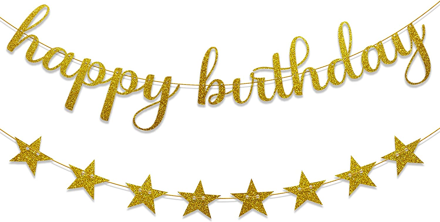 Ushinemi Gold Happy Birthday Banner Star Garland with Glitter low-pricing B Ranking TOP15