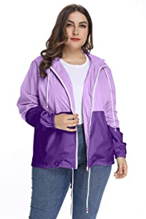 Women's Waterproof Raincoat Outdoor Hooded Rain Jacket Windbreaker XL-5XL