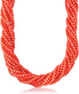 pink orange gemstone. one of a kind statement Coral 32\u201d long necklace beaded Mala Abalone shell pendant jewelry