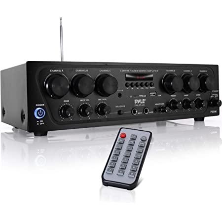 Sistema de amplificador de audio para el hogar con Bluetooth, 6 canales actualizados, 750 W, receptor estéreo de potencia con USB, Micro SD, auriculares, 2 entradas de micrófono con Echo, Talkover para PA - Pyle