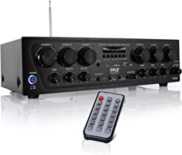Bluetooth Home Audio Amplifier System - Upgraded 6 Channel 750 Watt Wireless Home Audio Sound Power Stereo Receiver w/ USB, Micro SD, Headphone, 2 Microphone Input w/ Echo, Talkover for PA - Pyle