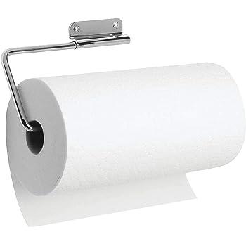 trapos y toallas Pr/áctico soporte para papel de cocina mDesign Portarrollos de pared para papel de cocina negro Ideal portarrollos de cocina para pared o armarios