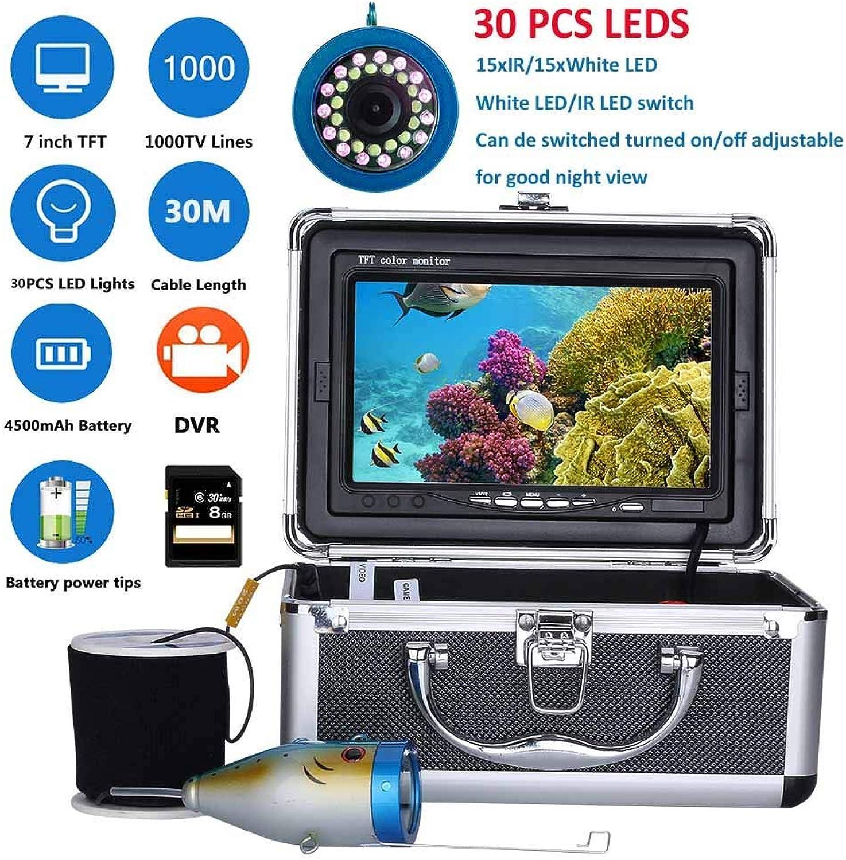 7 Zoll Monitor LCD Unterwasserfischen Kamera System Kit,30M 1000TVL Fischfinder Unterwasserfischen-Kamera 15Pcs Weie LEDs + 15Pcs Infrarotlampe, Eingebaute 8G Speicherkarte