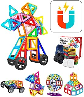 Jasonwell 133Pcs Magnetic Tiles Building Blocks Set for Boys Girls Preschool Educational Construction Kit Magnet Stacking ...