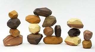 Tumi Ishi 17 Piece Wood Rock Set - Mixed Wood Species - Balancing Blocks - Natural Wood Toy - Organic Jojoba oil and Beesw...