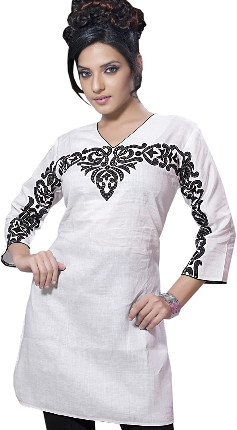 1545 Designs Women's V Neck Embroidered Shirt Tunic Top Dress