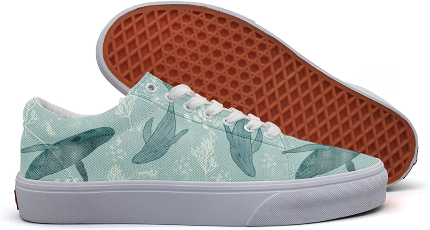 Watercolor bluee Whales Sea Women's Casual Sneakers Canvas Sports Nursing Simple