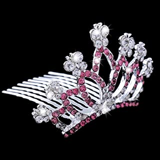 D DOLITY Charm Crystal Mini Crown Tiara Comb Wedding Party Hair Accessories