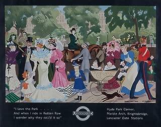 London Underground - Rotten Row Vintage Poster (artist: Zinkeisen) England (9x12 Art Print, Wall Decor Travel Poster)