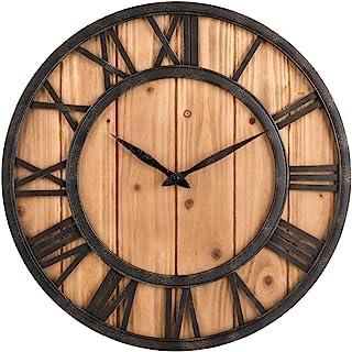Oldtown Farmhouse Rustic Barn Vintage Bronze Metal & Solid Wood Noiseless Big Oversized Wall Clock (Large 18-inch)