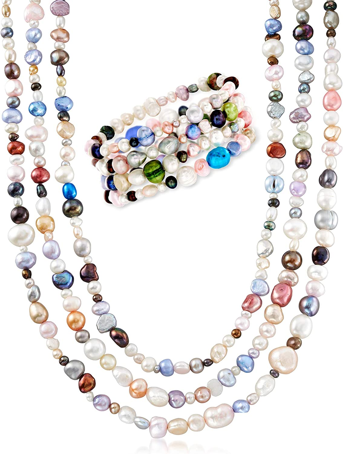 Ross-Simons 4-8mm Multicolored Cultured Pearl Jewelry Set: 4 Bracelets and Necklace