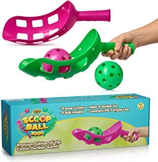 YoYa Toys Scoop Ball Game Outdoor Toy for Kids and Adults - Jai Alai Thrower with 2 Balls - PVC Carry Bag - Toss and Catch...
