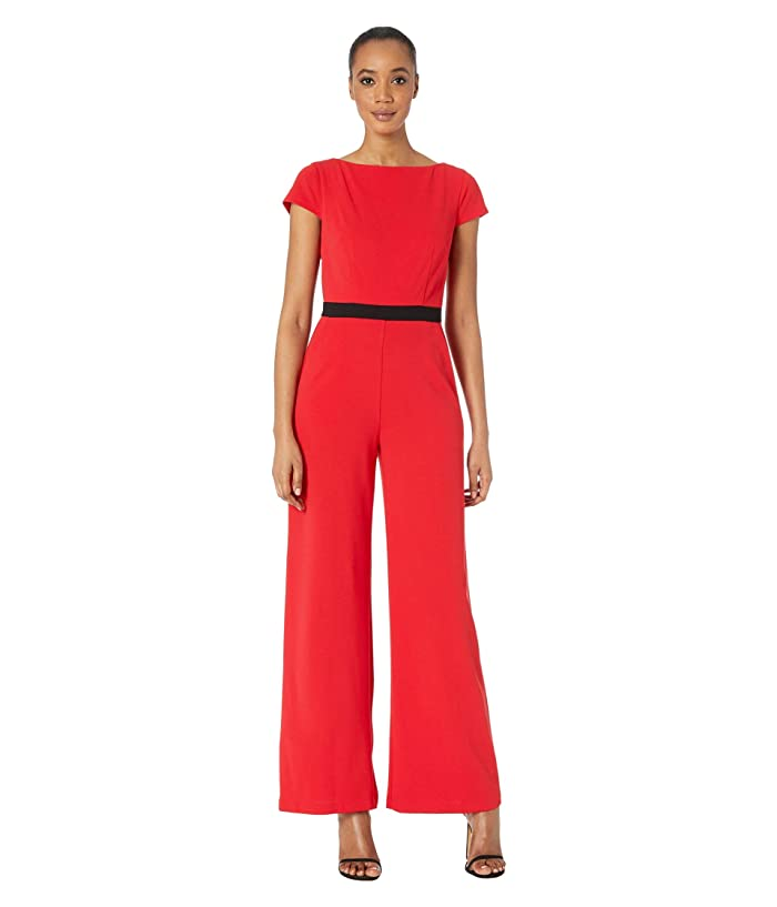 Donna Morgan  Contrast Bodice Stretch Crepe Jumpsuit (Red/Black) Womens Jumpsuit and Rompers One Piece