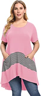 JollieLovin Women Plus Size Tops with Pockets Short Sleeve Tunic Tops Round Neck T Shirts Casual Summer Clothes Loose Fit