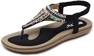 DolphinBanana Women's Bohemian Beaded Summer Flat T-Strap Thong Sandals, Glitter Rhinestone Shiny Candy Colored Beads Shoes for Dressy Casual Jeans Daily Wear and Beach Vacation, Amazon Choice!
