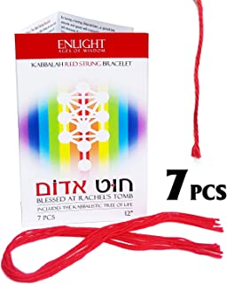 """Enlight ~ 7 Pcs Original 12"""" Kabbalah Red String Bracelets - Includes The Kabbalah Tree of Life, Ben Porat Blessing and Wearing Instructions. Made in Israel and Blessed at Rachel's Tomb."""