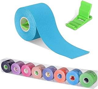 Cinta quinesiológica, cinta de soporte, rollo de 5m x 5cm, elástico e impermeable para el cuello, la espalda, los muslos, los tobillos y las rodillas. Mini soporte para móvil de regalo