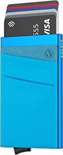 VULKIT Card Holder with Money Pocket Pop Up Wallet RFID Blocking Slim Metal Bank Card Case Holds 5 Cards and Notes, Blue