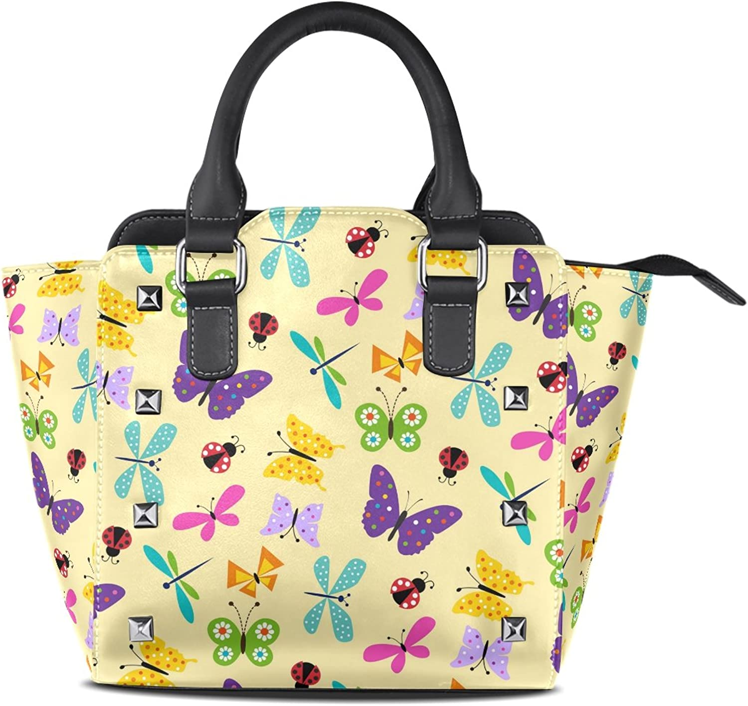 Sunlome Butterfly Ladybug Yellow Print Women's Leather Tote Shoulder Bags Handbags