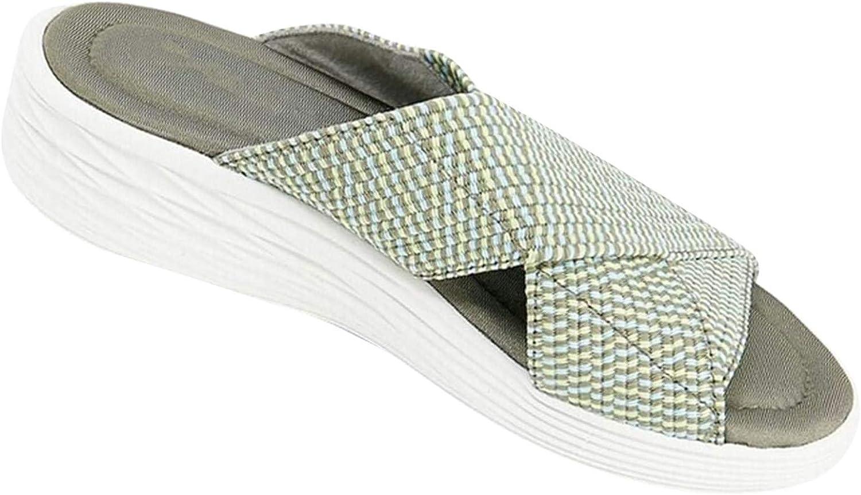 Summer Beach Shoes for Women Criss Cross Braided Slippers Soft-Soled Non-slip Outdoor Slip-Ons Versatile Slides
