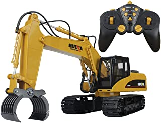 Big Daddy Super Powerful Full Functional DIE-CAST 15 Channel Professional Remote Control Excavator Timber Grab Toy with Lights & Sound