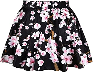 Women's Digital Print Stretchy Flared A Line Pleated Skater Skirt