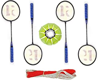 ROXON Alpha X 300 Iron Body Badminton Racket Pack of 4 Piece with 1 Piece Badminton Net and 10 Pieces Plastic Shuttles