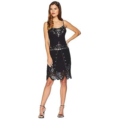 Unique Vintage Deco Style Embellished Odette Cocktail Dress (Black) Women