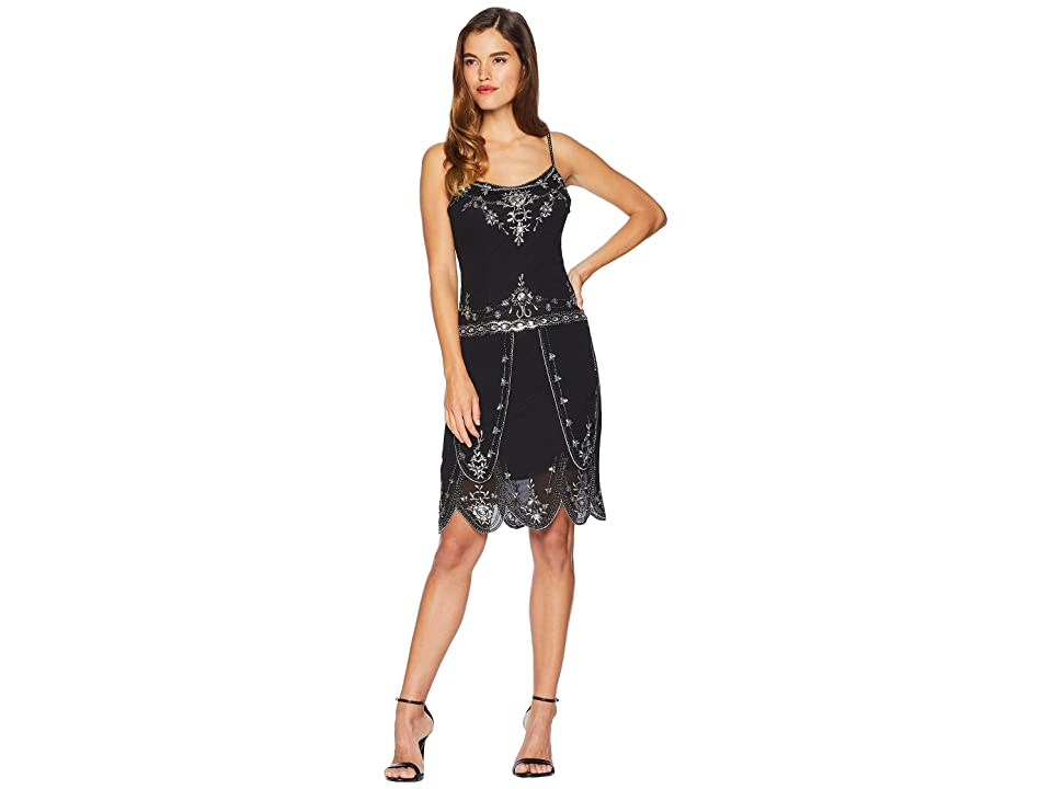 Unique Vintage Deco Style Embellished Odette Cocktail Dress (Black) Women