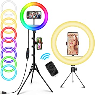Ailuki ringlamp met afstandsbediening, 12 inch, RGB, met afstandsbediening, 148 cm, statief & telefoonhouder Ailuki led-ri...