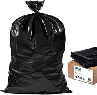 "Plasticplace Contractor Trash Bags 55-60 Gallon │ 3.0 Mil │ Black Heavy Duty Garbage Bag │ 38"" X 58"" (50Count)"