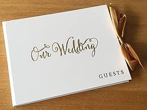Weiß Hochzeit Gästebuch Geschenk mit gold Band