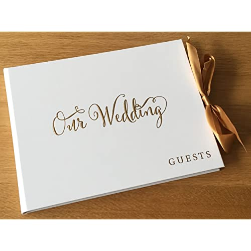 ukgiftstoreonline White Wedding Guest Book Gift With Gold Ribbon