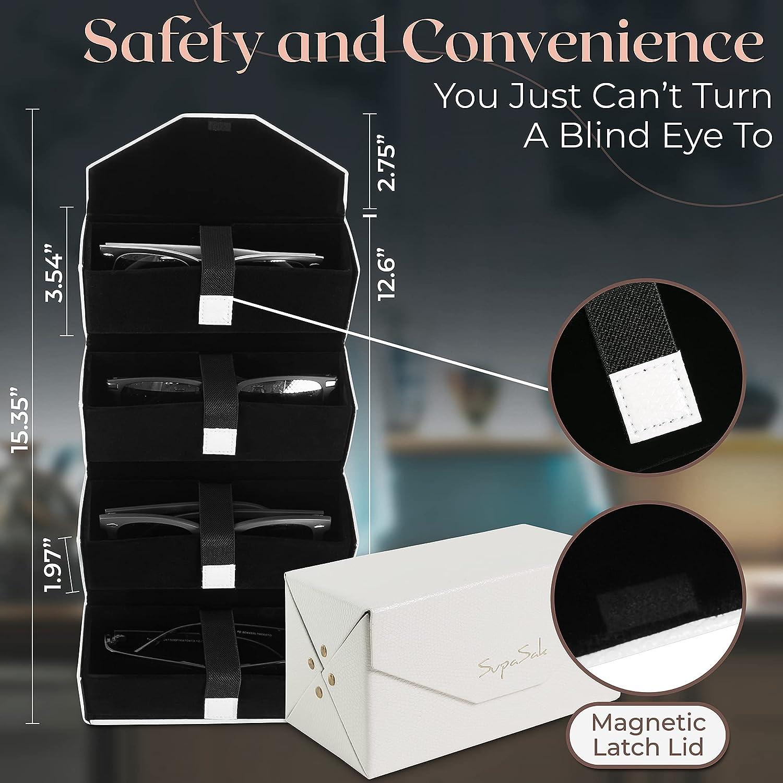 SupaSak Sunglasses Organizer Travel EyeGlasses Case 4-Slot Sunglass Storage Box