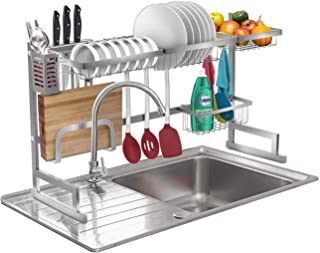 Sorbus Over-The-Sink Dish Drying Display Rack Stand, Draining Rack Sink Organizer with Utensil Holder Hooks for Kitchen Co...