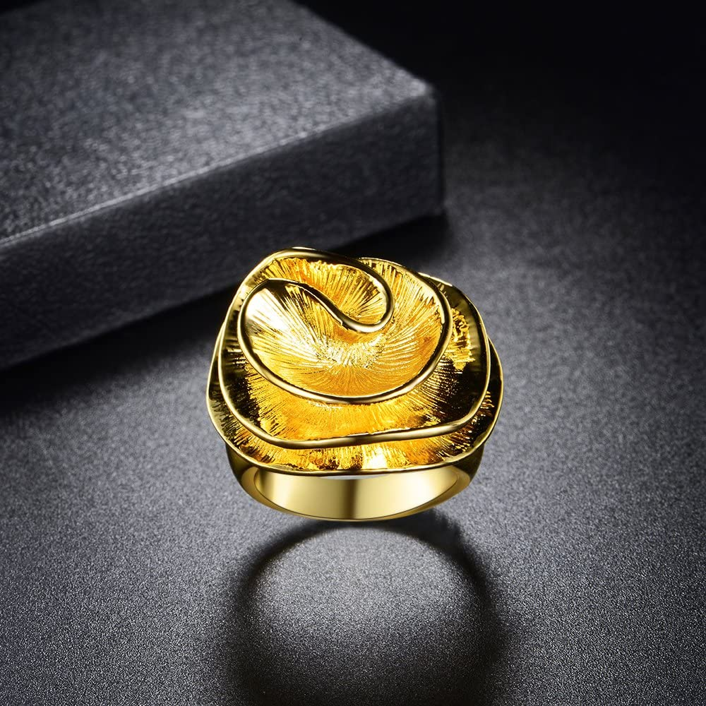 Mytys Statement Rings for Women 18k Gold Plated Flower Cocktail Ring Wedding Engagement Gift