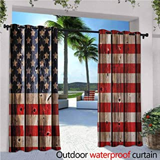 Jktown 4th of July Outdoor Grommet Window Curtain Rustic Backdrop with American Flag Design Wooden Boards Design Grommet Curtains for Bedroom 108x84 INCH,White Navy Blue Vermilion