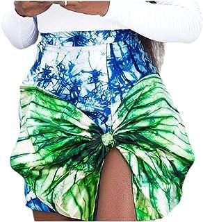 HEFASDM Women Short Stylish Hit Color Sexy Slim Fitting Bow Tie-Dye Split Skirt