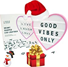 """Brooklyn Lighting Company Cinematic Light Box, LED Light Box, Cinema Light Box, Letter Light Box, Heart Shaped LED Light Box with 100 Letters and USB Cable (Included), Size 9.6""""x 9""""x 1.8"""""""