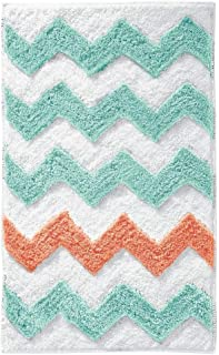 iDesign Chevron Bath Rug, Machine Washable Microfiber Accent Rug for Bathroom, Kitchen, Bedroom, Office, Kid's Room, 34