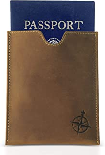 Leather Passport Holder - RFID Blocking Genuine Leather Slim Passport Wallet with Card Slots - Handmade Passport Pocket Sleeve - Ideal for Travel