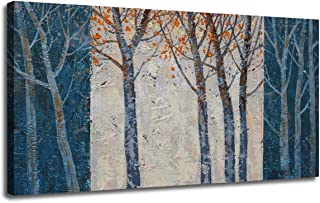 Canvas Wall Art Prints Forest Tree Grey Navy Blue Painting Contemporary Abstract Long Wood Picture Large Landscape Framed Ready to Hang for Living Room Bedroom Offfice Home Decor, Original Design