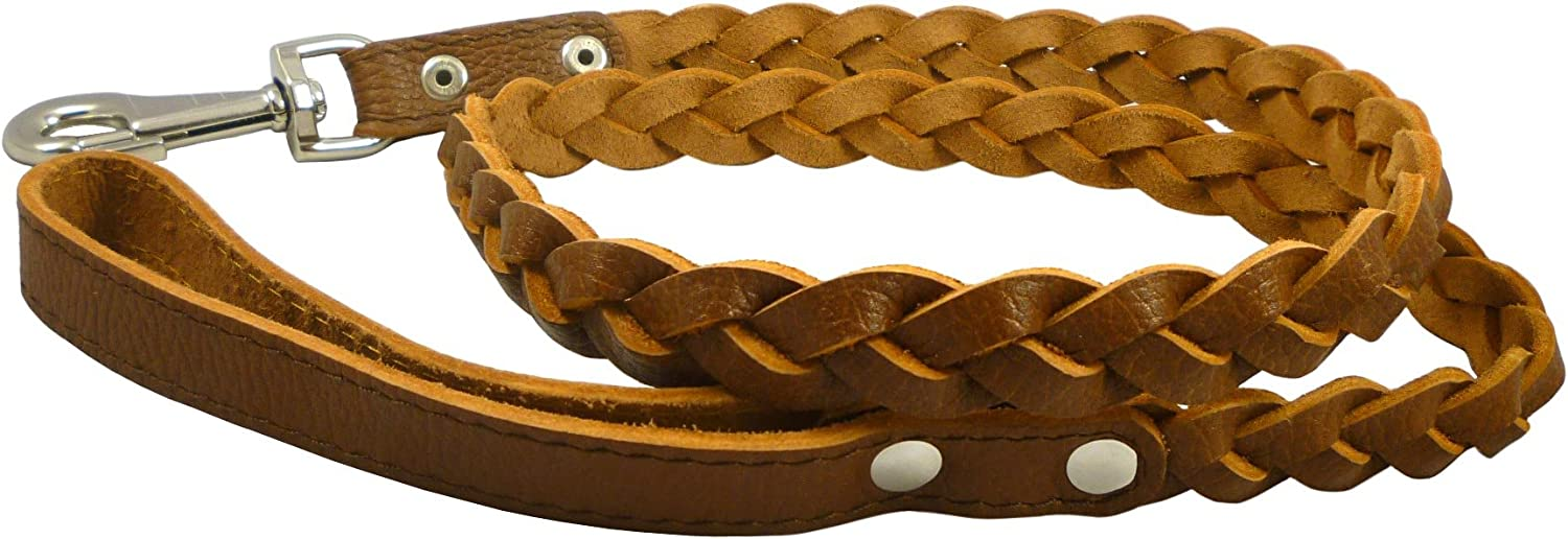Genuine Fully Braided Leather Dog Leash 4 Ft Long 1  Wide Brown, Large Breeds