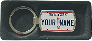 BleuReign(TM) Personalized Custom Name 1990s New York State License Plate Metal Keychain