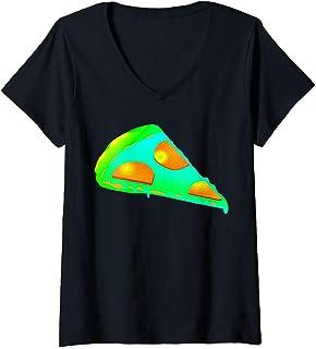 Womens EDM Electronic Dance Techno Pizza Rave V-Neck T-Shirt