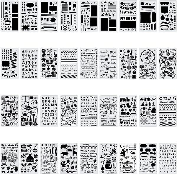36 PCS Plastic Journal Stencil Set For Journal Notebook Diary Drawing Scrapbook Journal Stencils Templates 4x7 Inch