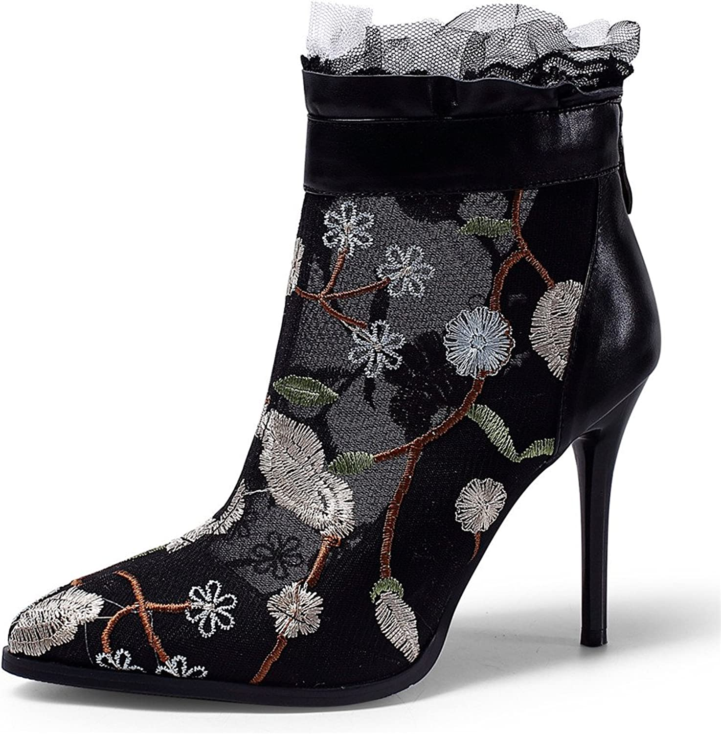 Nine Seven Cow Leather Women's Pointed Toe Stiletto Heel Embroideried Floral Handmade Mesh Ankle Boot