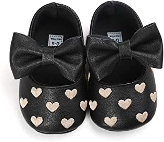 Bebila Baby Girls Mary Jane Flats - Soft Soled Toddler Shoes with Bowknot Ballet Slippers for Infant/Newborn/First-Walkers
